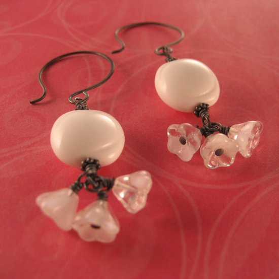 Handcrafted Artisan Oxidized Sterling Silver Vintage Lucite and Czech Bell Flower Earrings