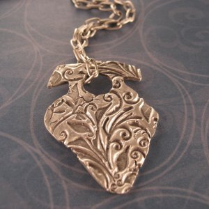 Archaic Fine Silver Pendant on a Sterling Silver Box Chain w/ Toggle Clasp