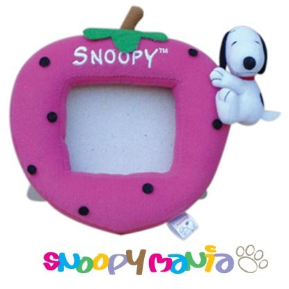 Snoopy hugging strawberry plush picture frame
