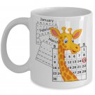 April The Giraffe Baby Calf Birthday Calendar Keepsake Mug. Baby Boy Is Here.
