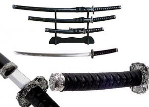 4PC SAMURAI SWORD SET BLACK