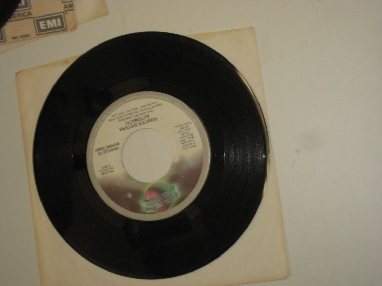"POINTER SISTERS  I'm So Excited 7"" 45 rpm vinyl record + juke box title strip"