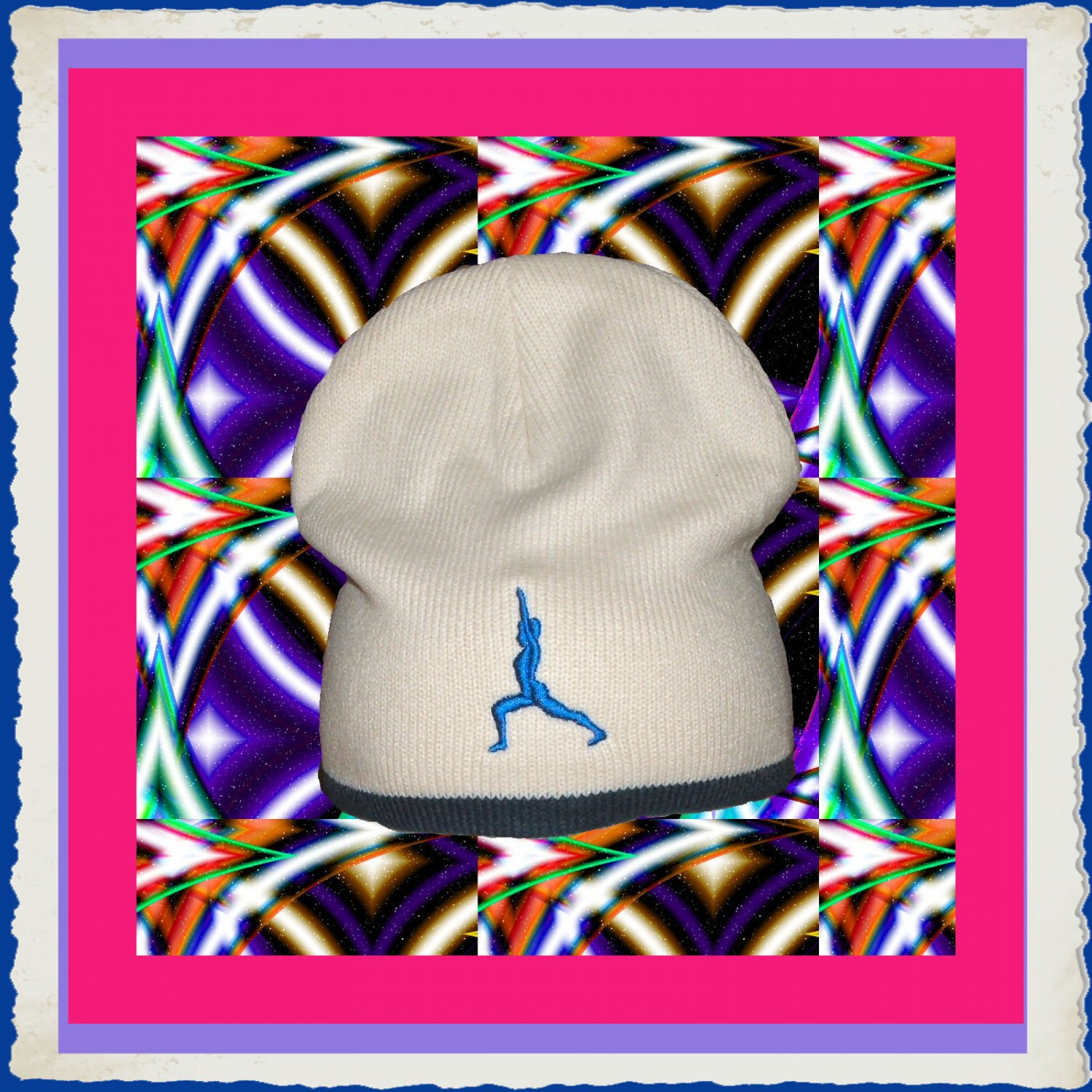 Knit Beanie Cap with Yoga Proud Warrior Embroidery