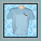 Loon Bird embroidery Cotton Short sleeve T-shirt Adult Med