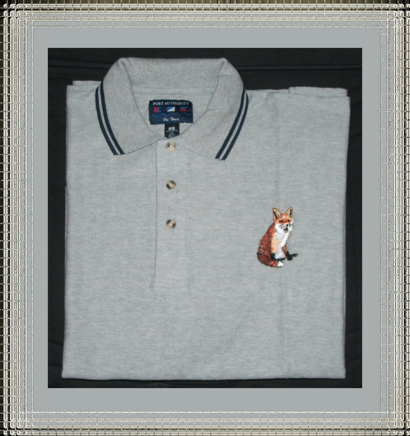 Men Cotton Polo Shirt Short Sleeve with Red Fox Embroidery Large