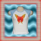 Neon Glow Tattoo Butterfly Ladies Jr Cap Sleeve Raglan T-Shirt MED