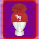 Knit Skull Cap with Cute Baby Unicorn Embroidery