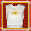 Sleeveless Cotton T- Shirt with Yoga Namaste Sunburst Large