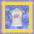 Cheer Girl Cheerleader Jr Ladies Cap Sleeve Raglan T-Shirt Large