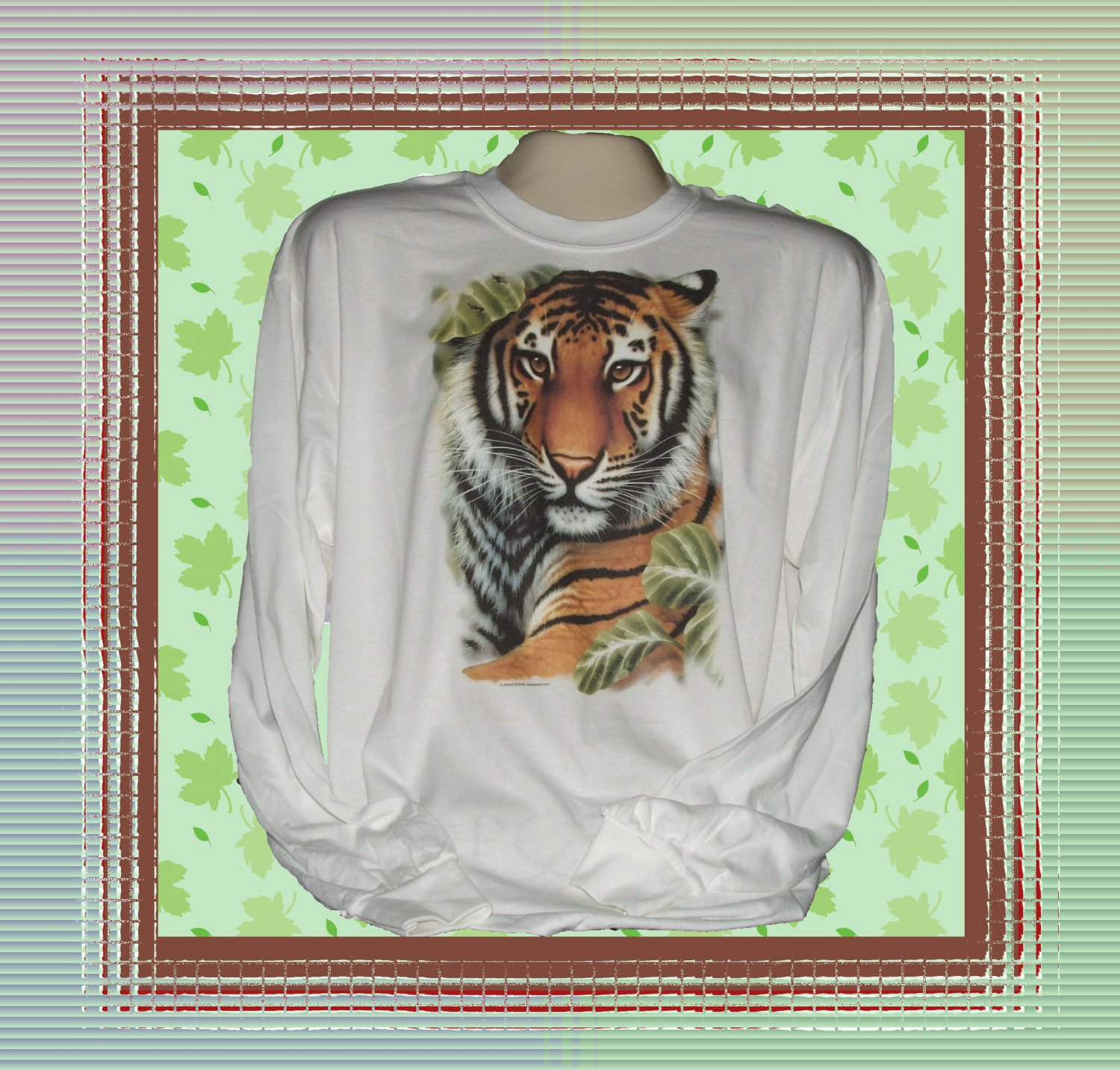 Wild Jungle Tiger Long Sleeve Cotton T-shirt XL