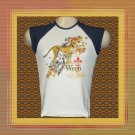 Wild Cheetah Gold Sparkle Butterflies Ladies Cap Sleeve Raglan T-Shirt MED