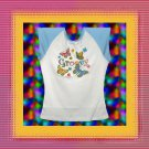 Groovy Butterfly Flowers Jr Ladies Cap Sleeve Raglan T-Shirt Large