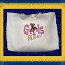 Girls Rule Jack Russell Terrier Dog Jumbo Shopping Tote Bag