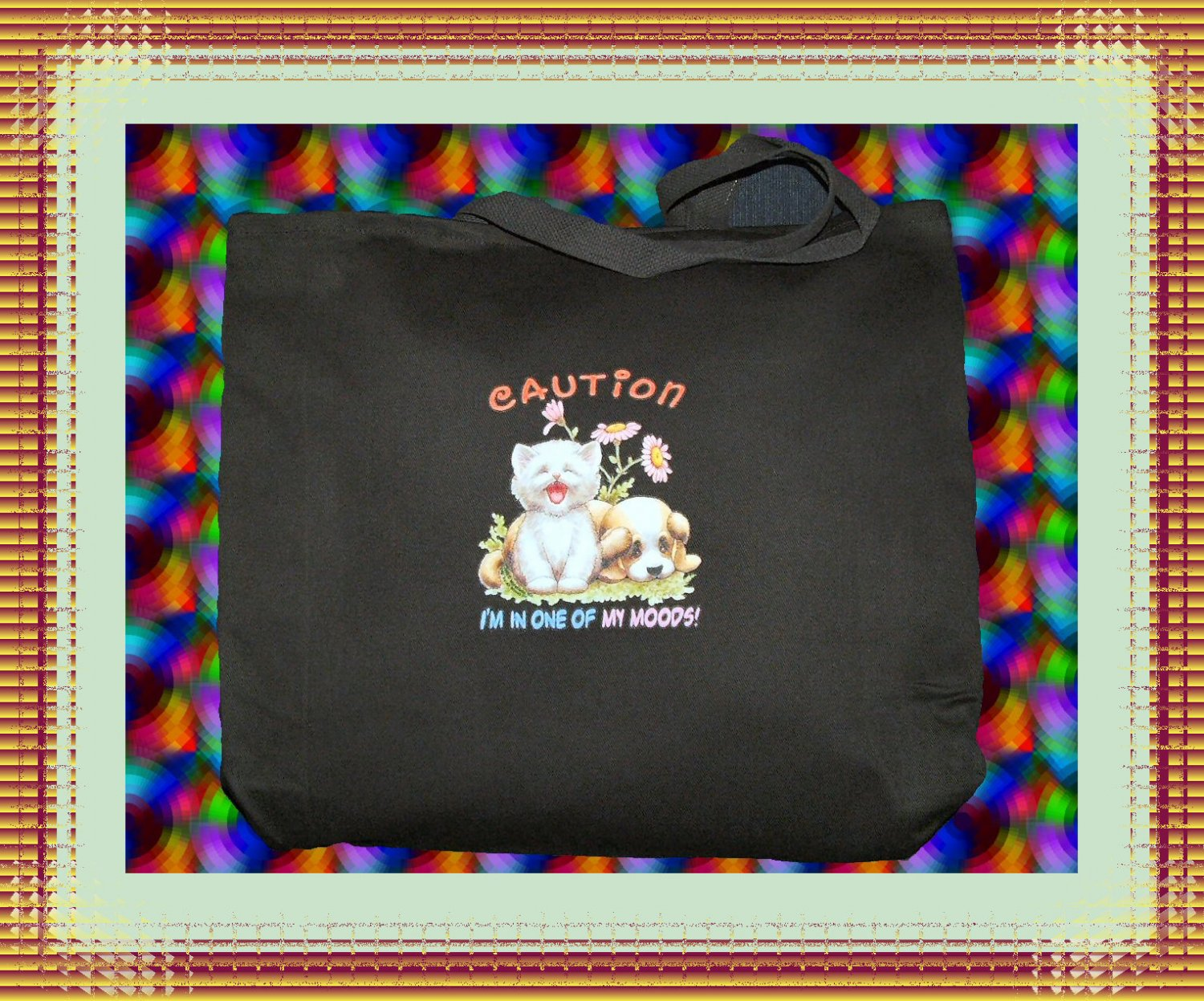 One of My Moods Mad Kitty Cat Jumbo Shopping Tote Bag