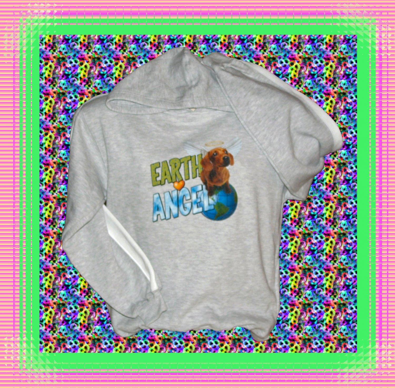 Earth Angel Dachshund dog Youth Hooded Long sleeve Sweatshirt Large 14-16