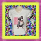 Puppy Dog Girls Rule Vintage Cotton Pullover Ladies Football Jersey XL