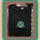 Ladies Casual V-Neck Shirt with Celtic Trinity Heart Embroidery Large