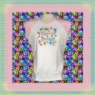 Flower Power Butterfly Ladies Cap Sleeve Raglan T-Shirt XL