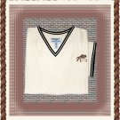 Ladies V-Neck Blouse with Equestrian Jumper Horse Embroidery Large