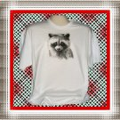 Black and White Raccoon Face Cotton Youth T-shirt Large