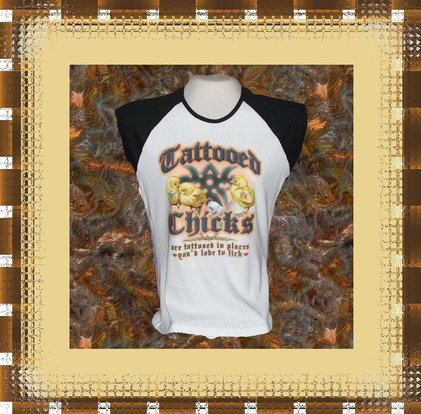 Tattoo Art Tattooed Chicks Ladies Cap Sleeve Raglan XL