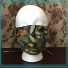 Washable Cotton Fabric Face Mask Triple Layers Forest Green Foliage Leaves Pattern