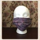 Washable Cotton Fabric Face Mask Triple Layers Ear Loops Purple Tie Dye Pattern