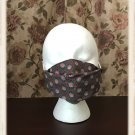 Washable Cotton Fabric Face Mask 3D Fit, Filter Pocket, Ear Loops, Floral Dots Pattern
