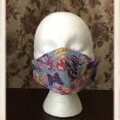Washable Cotton Fabric Face Mask 3D Fit, Filter Pocket, Ear Loops, Blue Butterfly Pattern