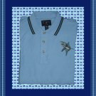 Mens Polo Shirt with Great White Shark Embroidery Large