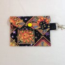 Mini Card Wallet Key Fob Fabric Pouch Sun and Moon pattern