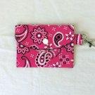 Mini Card Wallet Key Fob Fabric Pouch Pink Bandana Paisley pattern