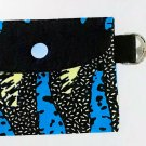 Mini Card Wallet Key Fob Fabric Pouch African Blue pattern