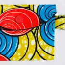 Mini Card Wallet Key Fob Fabric Pouch African Red pattern