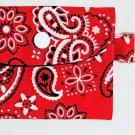 Mini Card Wallet Key Fob Fabric Pouch Red Paisley Bandana pattern