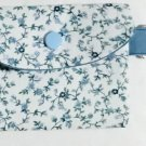 Mini Card Wallet Key Fob Fabric Pouch Blue Floral pattern