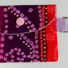 Mini Card Wallet Key Fob Fabric Pouch Red Purple Ombre pattern
