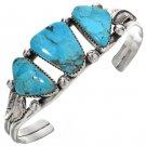 Kingman Turquoise Three Stone Bracelet Navajo Silver Cuff