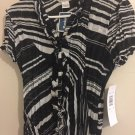 Ann Taylor Black White Zebra Print Sheer Blouse Small. V
