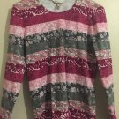 CHRISTOPHER & BANKS Burgundy/Pink Floral Crew Neck Top Small N