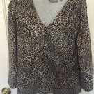 Croft & Barrow Women's Leopard Print 3/4 Sleeve Top  Size XL    A