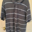 Izod Mens Striped Blue Polo Golf Short Sleeve Extra Large A