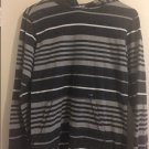 Amplify Youth Boys Polo Shirt Large 14/16 Black Gray Striped Hoodie. V