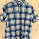 IZOD Mens Shirt Large Blue Short Sleeve Button Down Plaid cotton A