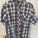 Phat Farm Mens Shirt Large  Blue Plaid Cotton Button Front Breast Pocket A