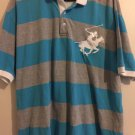 Beverly Hills Polo Club MEN'S SHORT SLEEVE Striped Gray blue Shirt XL.   B