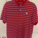 CHAPS polo shirt short sleeve striped Red Mens  Medium Shirt A