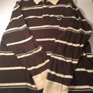 Sean John 2XL Striped Polo Brown Beige Mens Shirt C11