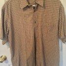 Perry Ellis Men Brown Plaid Short Slv Button-down Shirt Ellis Large C21