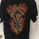 Sons Of Anarchy Shirt Mens Large Black SAMCRO Reaper Design Short Sleeve   A